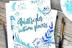 Posted by @newkoko2020 Blue watercolor flowers by irina.vaneeva on @creativemarket