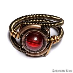 Steampunk Jewelry  Ring  Red Custom size by CatherinetteRings, $40.00