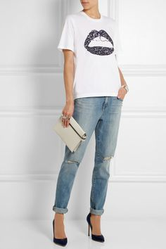 Marcus Lupfer tee, J. Brand jeans, Gianvanito Rossi heels, Victoria Beckham bag - via net-a-porter