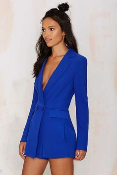 No Tux Given Blazer Romper - Blue - Rompers + Jumpsuits | Best Sellers | Back In Stock | Bottoms