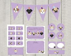 Dog Theme Birthday Party Decor Set Purple by DeliveredByDanielle 5th Birthday, Birthday Parties, Dog Themed Parties, Happy Birthday Messages, Puppy Party, Party Favor Tags, Dog Illustration, Personalized Tags, Birthday Party Decorations