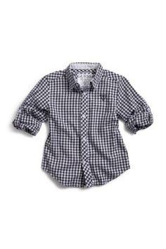 Guess Little Boy Gingham Shirt w/ roll up sleeves. $34.50