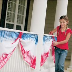 Tie-Dyed Bunting From Family Fun. patriotic-memorial day-4th of july-red-white-blue-DIY-Craft
