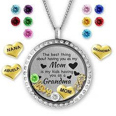 The Best Thing About Having You As My Mom Is My Kids Having You As A Grandma Gifts for Mom Floating Charms Locket * Continue reading at the image link. Grandma Necklace, Mother Daughter Necklace, Necklace For Girlfriend, Unique Gifts For Mom, Perfect Gift For Mom, Mom Gifts, Locket Charms, Locket Necklace, Birthstone Necklace