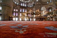 Red carpet at the Blue Mosque in Istanbul