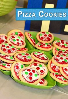 These Pizza Cookies are super awesome! Bake a batch for your ninja tu… Cowabunga! These Pizza Cookies are super awesome! Bake a batch for your ninja turtle party snack, and pair them with a bag of Pop Secret's pre-popped White Cheddar Popcorn. Pizza Party Birthday, Turtle Birthday Parties, 4th Birthday, Kids Pizza Party, Birthday Ideas, Birthday Cupcakes, Birthday Snacks, Party Cupcakes, Birthday Recipes