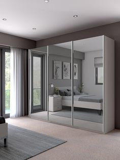 John Lewis & Partners Elstra Wardrobe with Mirrored Sliding Doors Wardrobe Door Designs, Wardrobe Design Bedroom, Closet Designs, Closet Bedroom, Mirrored Wardrobe Doors, Mirror Closet Doors, Sliding Wardrobe Doors, Mirror On Door, Closet With Mirror