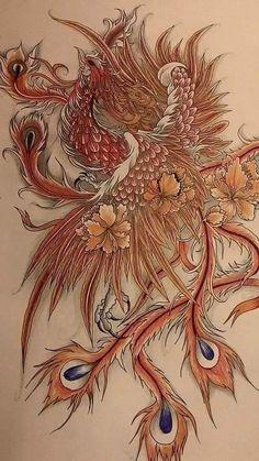Phoenix Small Phoenix Tattoos, Phoenix Tattoo Design, Small Girl Tattoos, Asian Tattoos, Body Art Tattoos, Sleeve Tattoos, Crow Tattoos, Phoenix Painting, Phoenix Art