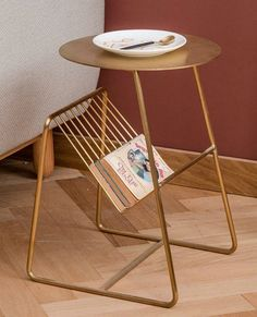 Gold side table Glamorous table that features a practical newspaper rack Convenient for placing laptops books magazines coffee etc Crate Side Table, Ikea Side Table, Rustic Side Table, Side Table Decor, Table Decor Living Room, Side Tables Bedroom, Glass Side Tables, Wooden Side Table, White Side Tables
