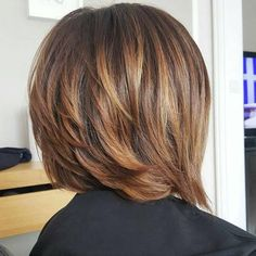 I think Ilike this length for the back & I think I like the color too.  Layered Bob With Subtle Highlights