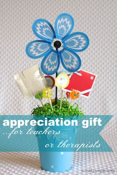 DIY: therapist or teacher appreciation gift - all of the supplies (with the exception of the gift cards) came from the dollar store!