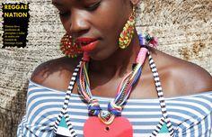 REGGAE NATION  Pendientes Jamaica de plexiglass bordados y collar con cuerdas y corazón de #domingoayalahandmade  http://domingoayala.es/jewellery/lookbook-ss2016/