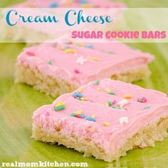 "Cream Cheese Sugar Cookie Bars...blog says: ""Not only is there cream cheese in this cookie but also in the frosting. I figured the cream cheese would make a nice and tender cookie.  I was right. The texture of the cookie turns out to be very tender and almost cake like.  They are DIVINE! You will not be disappointed with these!"""