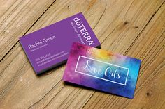 Love Oils business card. Chakra colors design personalized for Distributors & Advocates. Choose from your Young Living, dōTerra or no logo. #business #networking