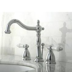 Elevate the function and style of your bath decor with the use of this highly durable Kingston Brass Heritage Widespread Bathroom Faucet in Chrome. Widespread Bathroom Faucet, Lavatory Faucet, Bathroom Faucets, Craftsman Bathroom, Bathroom Ensembles, Faucet Handles, Kingston Brass, Elements Of Design, Plumbing Fixtures