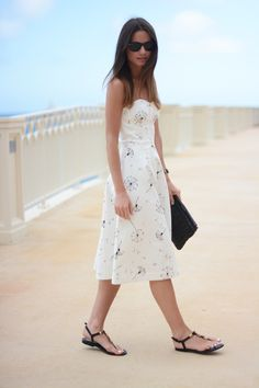 Dresses for every occasion #streetstyle white midi dress beautiful black sandals and shades
