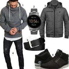 Grau-Schwarzes Herrenoutfit mit Hoodie und Steppjacke (m0747)