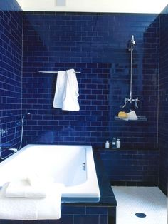 cobalt tiled bathroom <3 Pictured in Waterworks | by Barbara Sallick