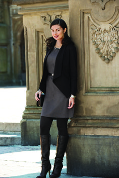 Ponte Dress layered with Ponte Lapel Jacket and Classic Leggings