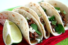 Salsa Verde Shredded Beef Tacos with Lime