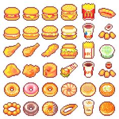 pixel art, pokemon and gaming. Pixel Art Anime, Pixel Art Food, How To Pixel Art, Image Pixel Art, Pixel Art Games, Food Art, 8 Bits, Cute Pixels, Game Design