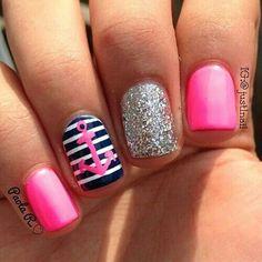 Hot Pink & Navy Nautical Nails