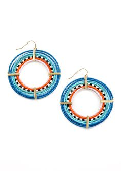 nOir beaded hoop earring