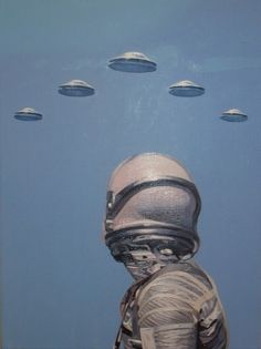 Space suit, Space man, flying saucers, UFOs