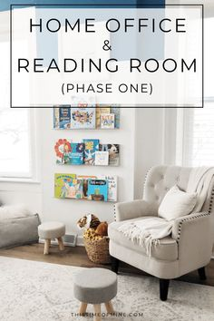 Office, homework station, reading area, and more! See how we're turning our unused dining room into a cozy home office the whole family can use. Reading Room Decor, Reading Nooks, Cozy Home Office, Home Office Design, Library Design, Library Ideas, Ikea Small Spaces, Home Library Rooms, New Paint Colors