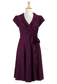 eShakti.com - Shop Online Womens Designer Dresses   Sundresses   Women's Sundresses   Plus Size Sundresses   Petite Sundresses   Rolled ruffle crepe wrap dress
