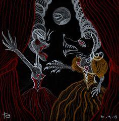 drawlloween day werewolf The Frantics - Werewolf Black Paper, Werewolf, Blood, Drawings, Painting, Art, Painting Art, Sketch, Paintings