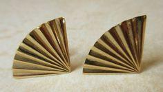 Vintage 14k Yellow Gold #Fan #Earrings Pleated Design Stud #jewelry pierced EUC #Vintage #Stud
