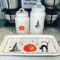 I scored these beauties on from an amazing seller. I just need the scaredy cat canister! If you have one for sale at a reasonable… Halloween Kitchen, Halloween House, Holidays Halloween, Vintage Halloween, Halloween Crafts, Happy Halloween, Spooky Halloween Decorations, Spooky Decor, Halloween Queen