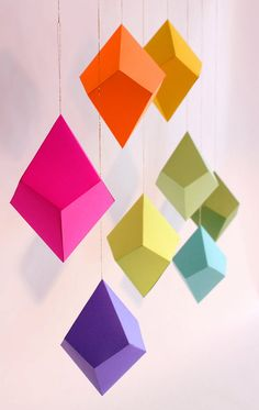 DIY Geometric Paper Ornaments - Set of 8 Cut-and-Fold Paper Polyhedra Templates. From FieldGuideDesign on Etsy.