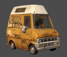 Ford Econoline by Mike Ho on ArtStation. Ford Transit Camper, Vanz, Peace Art, Car Design Sketch, Dope Art, Automotive Design, Cool Bikes, Cartoon Styles, Concept Cars