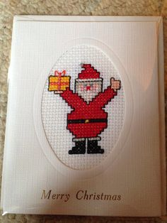 Handmade Santa Claus Cross Stitched Christmas card on Etsy, £2.00