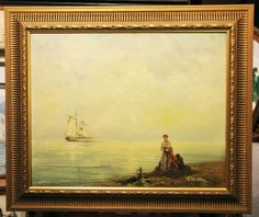 T Weddel  Coastal study with ship and lady on beach  beautiful oil on canvas