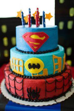 Superhero Birthday Cake, spiderman, superman, batman, 5 year old party ideas, pixiecakes