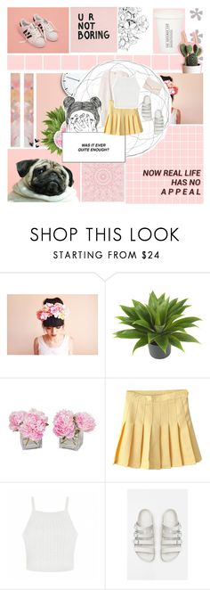 """Tear in my heart"" by painterella ❤ liked on Polyvore featuring Nearly Natural, The French Bee, Ally Fashion, Birkenstock and Mansur Gavriel"