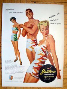 1950 pinup pin-up girl art Jantzen Sea Flame swimsuit vintage print ad Vintage Advertisements, Vintage Ads, Vintage Prints, Vintage Makeup, Vintage Ephemera, Vintage Bathing Suits, Vintage Swimsuits, Retro Swimwear, 1950 Pinup