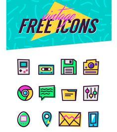 Vintage 90s Icons Set Icons AI Flat Free Graphic Design Icon Resource Retro Vector Vintage