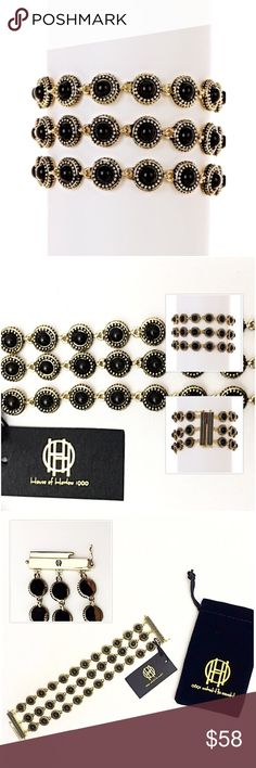 """House of Harlow 1960 Cuzco Triple Row Bracelet You'll love the look of this retro chic stylish triple row bracelet. Gold-tone black resin stone triple row bracelet. Sliding hook clasp with safety latches. Approx. 7"""" L x 1"""" W. Nickel-free and lead-free tin alloy, resin. Brand new with tags! Retails $148 House of Harlow 1960 Jewelry Bracelets"""