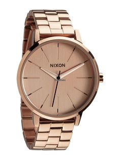 The Nixon Kensington girls watch is comes in an all rose gold stainless steel case for a bold look that compliments any outfit. This medium sized Nixon watch runs on 3 hand Japanese quartz movement and has a round face for a clean no-nonsense look that wi Cool Watches, Watches For Men, Nixon Watches, Kensington, Rose Gold Watches, Looks Vintage, Stainless Steel Bracelet, Or Rose, Ideias Fashion