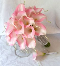 Pink Calla lily wedding bouquet Real touch mini Pink calla lily | ChurchMouseCreations - Wedding on ArtFire