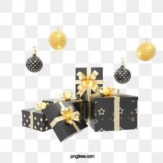 black gold texture creative christmas day gift box, Golden, Stereoscopic, Gold PNG and PSD