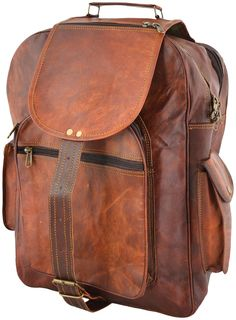 """PLH6 RUTHER LESACK™ Leather backpack. Handmade 16"""""""
