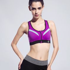 2984ba385e Shitagi Women Fashion Zipper Fitness Comfortable Sports Bra Wirefree Vest  Top Underwear Push Up Bra Absorb