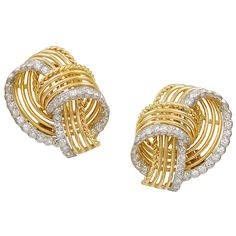 Cartier Paris Diamond Gold Ear Clips | From a unique collection of vintage clip-on earrings at https://www.1stdibs.com/jewelry/earrings/clip-on-earrings/