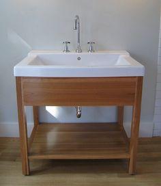 Handmade bathroom vanity Otto Woodwork by OTTOwoodwork on Etsy Open Bathroom Vanity, Small Vanity, Diy Vanity, Wood Vanity, Wood Bathroom, Downstairs Bathroom, Vanity Sink, Bath Vanities, Bathroom Ideas