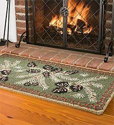 Fire Resistant Pine Cone Hearth Rug Adds Beauty And Safety To Your Natural Wool Is Durable With A Chunky Looped Pile In